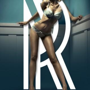 affiche typographique sexy avec la lettre R
